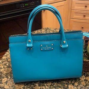 Kate Spade turquoise handbag with exterior pocket